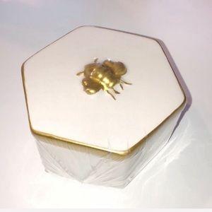 Bee Ceramic Jewelry Trinket Box Home Decor Chic